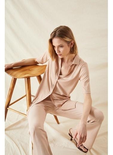 DeFacto Gömlek Tasarımlı V Yaka Yarım Kollu Uzun Hırka Bej